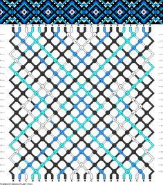 Friendship bracelet pattern - 22 strings, 4 colors - diamonds, squares, flower, triangles, dots