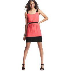 Colorblocked Elastic Waist Dress