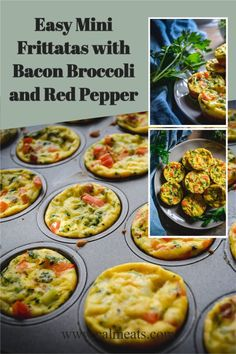 Keto, Low-Carb, Easy Mini Frittatas with Bacon Broccoli and Red Pepper are perfect for brunch, a gathering, or simply for every day. #easyfrittatas #minifrittatas #breakfastrecipes #frittatas #ketobreakfast #ketorecipes #easybrunchrecipes #brunchrecipes #frittatasrecipe #baconandeggfrittata #lowcarbbreakfast