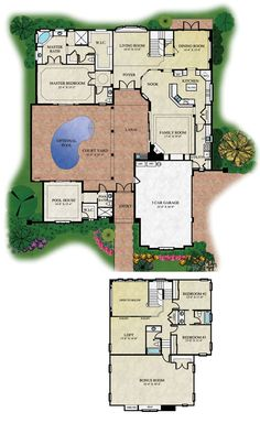 Center Courtyard House Plans         Tuscan  Luxury  European     Courtyard Floor Plan