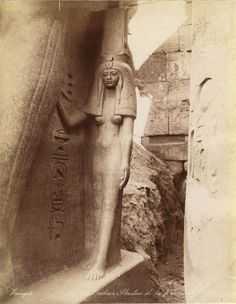 Statue of Queen Nefretiti, Temple of Amenhotep IV, Luxor (East Thebes), Egypt, c. 1353–1336 BC. (photo by Zangaki, late 19th century)