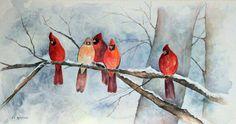 joan applebaum winter cardinal painting - Google Search