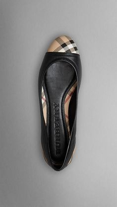 Classy! Check Detail Nappa Leather Ballerinas | Burberry