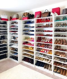 Master walk in closet with vanity shoe shelves 52 Ideas for 2019 Closet Shoe Storage, Closet Drawers, Closet Shelves, Shoe Racks, Shoe Closet Organization, Office Storage, Custom Closet Design, Walk In Closet Design, Closet Designs