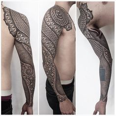 Intricately detailed sleeve tattoos created using geometric shapes inside geometric shape tattoo sleeve Geometric Shape Tattoo, Geometric Sleeve Tattoo, Full Sleeve Tattoo Design, Full Sleeve Tattoos, Geometric Shapes, Tattoo Design Drawings, Tattoo Sleeve Designs, Black Tattoos, Tribal Tattoos
