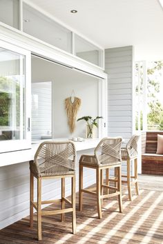 Home Interior Entrance Hand-Woven Cross Cord Bar Stool Houses Architecture, Kitchen Benches, Kitchen Island Bar Stools, Kitchen Window Bar, Kitchen Corner Bench, Island Chairs, Kitchen Dining Living, Bar Kitchen, Condo Kitchen