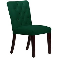 Add brilliant color and extra seating to your dining room with this wonderful made-to-order chair. This eye-catching chair boasts foam padding for luxurious comfort as you dine, and the tufted back adds an elegant touch to your space.