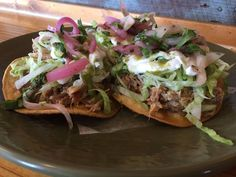 It\'s #tostadatuesday at Boca!! Aji amarillo pulled pork tostadas Beans- lettuce- Crema-salsa verde- pickled onions 3 for 6.75$ @boca31.denton #tostadatuesdays #boca31 #chefandresmeraz #dentonslacker #dealoftheday #lunchspecial #denton #dentontexas #dentontx #dentoning #wedentondoit #wddi #unt #twu #dentonite #doingitdenton #dentonproud #discoverdenton