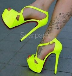 shoes neon yellow heels sexy pumps stilettos high heels open toes high heel pumps platform pumps #platformpumpsstilettos