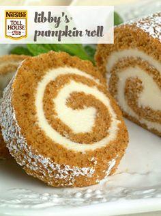 Pumpkin roll: My favorite fall dessert! My sister in law, Erinn, makes the best pumpkin roll I've ever tasted! Libby's Pumpkin, Pumpkin Dessert, Pumpkin Recipes, Fall Recipes, Holiday Recipes, Sugar Pumpkin, Pumpkin Puree, Spiced Pumpkin, Libby's Canned Pumpkin