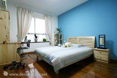 dormitorio cuarto pintado de azul y blanco