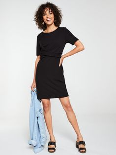 V by Very Cross Front Dress - Black Black Polish, High Leg Boots, Long Toes, Colored Blazer, Dress Outfits, Latest Trends, Dresses For Work, Dress Black, Shirt Dress