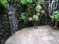 Outdoor shower, slate tiles