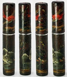 Antique French Billet Doux, Etui, Vernis Martin c. 1700s - Holder of Love Notes, Messages - Swan