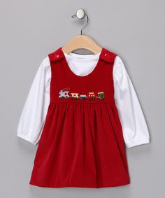 White Tee & Red Train Corduroy Jumper - Infant & Toddler