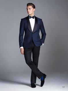 2016 Wedding Suits Navy Blue Groomsmen Best Mens Wedding Prom Formal Suits Shawl Lapel Custom Made Groom Tuxedos Jacket+Pants+Bow Tie Slim Fit Suits Suit From Beautifulbrideeden, $81.41| Dhgate.Com