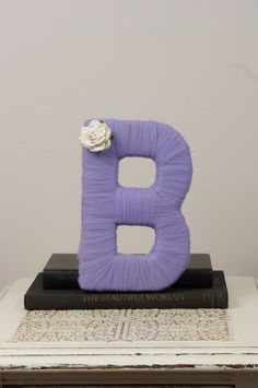 Tulle wrapped letter B wedding decoration by DuryeaPlaceDesigns