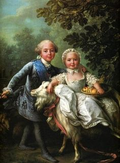 Comte d'Artois as a child, seated beside his younger sister, Princess Clotilde.