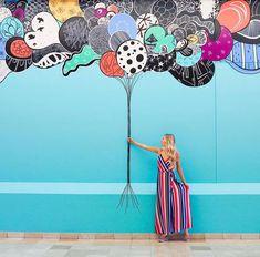Weekend ready!! 🎈🌈💃💙 #whatliftsyou Wall Painting Decor, Mural Wall Art, Diy Wall Art, Murals Street Art, Street Art Graffiti, Pizza Art, Garden Mural, Interactive Walls, School Murals