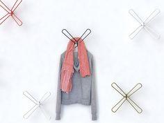 X-shaped coat hanger hooks