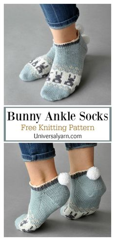 Feb 2020 - The Cozy Bunny Ankle Socks Free Knitting Pattern is designed with comfort in mind. A sporty low cut sock has a fun pom pom attached in the back. Knitting Patterns Free, Knit Patterns, Free Knitting, Beginner Knitting, Knitting Machine, Vintage Knitting, Stitch Patterns, Crochet Socks, Knitting Socks