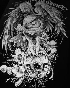 owl tatoo sketch by @danielbacz
