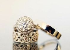 love this band! Wedding Party - http://weddingpartyblog.com/2012/11/23/engagement-ring-inspiration-ideas-diamond-jewelry-vintage-etsy-unique-carats/