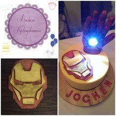 IRON MAN CAKE                                                                                                                                                         Ironman Maske aus Modellierfondant, Hand komplett aus Schokolade mit integriertem Drück-licht   #superhero #ironman #cake