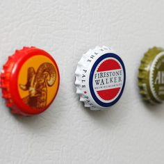 Bottle top magnets - my sister first shared this idea with me, and I'm finally using it for household locker tag holders.