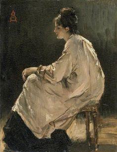 Alfred Stevens (Brussels 1823 – Paris 1906) • Seated Girl