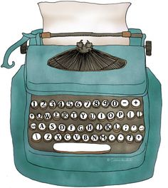 blue typewriter...can get on a bag. comes in orange too!