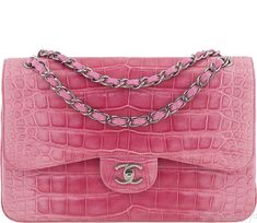 dde5ba26b71 Superb Gradient Pink Jumbo Crocodile from Chanel! This charming and  beautiful Chanel Classic Flap bag is made exotic Crocodile leather in pink  with gradient ...