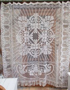 Gorgeous Large Antique French Hand Worked Filet Lace Curtain. (1443)
