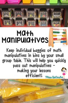 Math Organization - Maximize your small group time with organized materials and pre-packaged manipulatives. - Miss DeCarbo