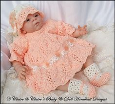 Dress & Jacket Set for doll/preemie/newborn baby-knitting pattern, reborn, baby doll, reborn doll knitting pattern, babydoll handknit designs Baby Doll Clothes, Crochet Doll Clothes, Knitted Dolls, Doll Clothes Patterns, Pet Clothes, Crochet Dolls, Doll Patterns, Sirdar Knitting Patterns, Knitting Designs
