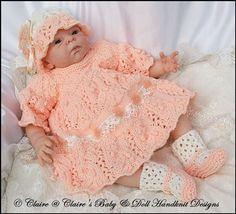 "Dress & Jacket Set for 16-20"" doll/preemie/newborn baby-knitting pattern, reborn, baby doll, reborn doll knitting pattern, babydoll handknit..."