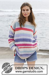 Sunset at Sea - Knitted jumper with garter stitch and stripes. Sizes S - XXXL. The piece is worked in DROPS Brushed Alpaca Silk. - Free pattern by DROPS Design Drops Design, Sweater Knitting Patterns, Knit Patterns, Free Knitting, Drops Patterns, Crochet Design, Magazine Drops, Alpacas, Yarn Brands
