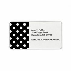 Black White Large Polka Dot Pattern Personalized Address Labels