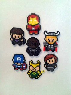Avenger perler beads, I'd pay someone to do this for me. Perler Beads, Perler Bead Art, Fuse Beads, Pearler Bead Patterns, Perler Patterns, Pixel Art, Iron Man, Art Perle, Pixel Beads