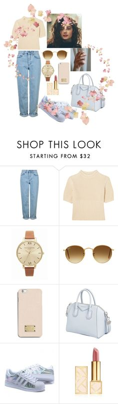 """""""Untitled #539"""" by mariabelentza ❤ liked on Polyvore featuring Topshop, Totême, Olivia Burton, Ray-Ban, MICHAEL Michael Kors, Givenchy and Tory Burch"""