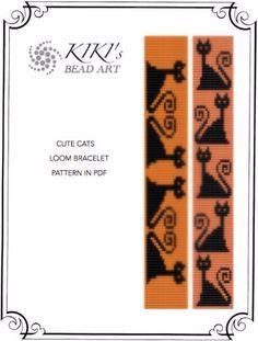 Halloween SALE Bead Loom pattern Cute cats LOOM von KikisBeadArts