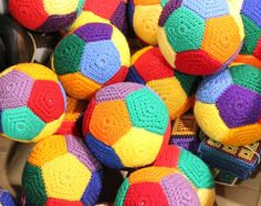 Colorful crocheted balls fit nicely in a Operation Christmas Child shoe box.