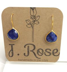 Lapis Lazuli Drop Earring by JRoseJewelrybyJess on Etsy