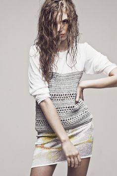 Design Inspiration, Ekaterina Kukhareva | you have a top with great fabric or print, good way to rehab with crochet bottom