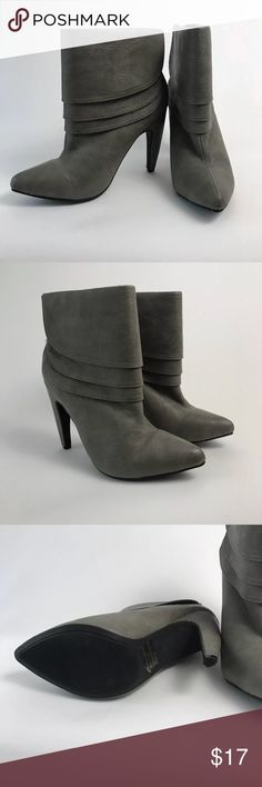 """Kiss & Tell Gray Layered Pointed Toe Heel Booties Good condition! Kiss and Tell size 8 gray layered heel ankle booties. Zipper back closure. Patent leather. 3"""" heel. Padded inner footing. Kiss & Tell Shoes Ankle Boots & Booties"""