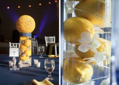 Easy to make//cheap centerpieces for a splash of color Lemon Centerpieces, Wedding Table Centerpieces, Wedding Decorations, Centerpiece Ideas, Yellow Wedding, Wedding Colors, Wedding Book, Wedding 2015, Wedding Stuff