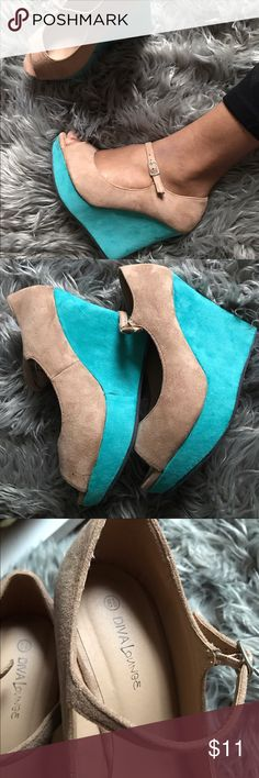 Diva lounge nude and teal colorblock wedges Only worn once, just collecting dust. Size 8.5 but they run a little big Wild Diva Shoes Ankle Boots & Booties
