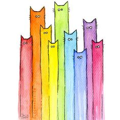 Rainbow of Cats, Colorful Cat Rainbow Print, Whimsical Animals,... (43 RON) found on Polyvore featuring home, home decor, wall art, colorful animal paintings, colorful wall art, giclee painting, animal wall art and cat painting