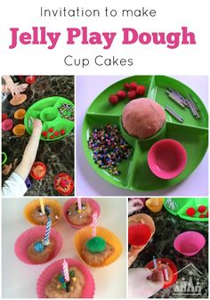 Our Invitation to make Jelly Play dough Cupcakes is perfect to set up for a group of children to make together on a play date.