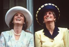 The Princess of Wales and the Duchess of York on the balcony of Buckingham Palace during the Trooping the Colour ceremony, June 1991.